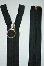 "Black Ring Puller Auto Lock Open End Nylon Zipper Zip No 5 Length 24""/60cm"