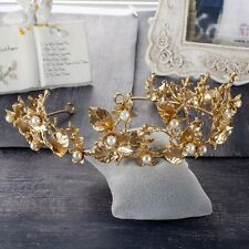 Vintage Wedding Bridal Pearl Gold Baroque Crown Tiara Hair Accessories Jewelry