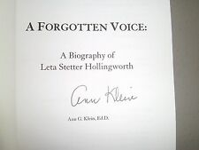 A Forgotten Voice: A Bio of Leta Stetter Hollingworth by Klein Signed by Author