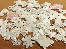 100 WHITE Mixed Stick On Fabric Motifs, Scrapbooking Embellishments CRAFT