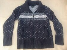 Eddie Bauer Womens Cardigan Ski Sweater, Gray Snowflake, Full Zipper Size S, EUC