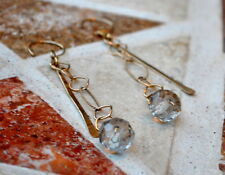 Long Gold Filled Chain Earrings with Hammered Gold and Crystal