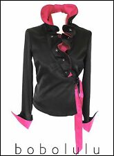 QUIRKY BLACK & PINK RUFFLE BLOUSE TOP DRAMATIC HIGH COLLAR STEAMPUNK POET 8-10