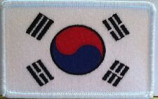 South Korea Flag Iron-On Patch Korean Military Emblem White Border Embroidered