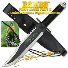 NEW RAMBO FIRST BLOOD PART II Licensed MANUAL SIGN SURVIVAL HUNTING KNIFE FK406