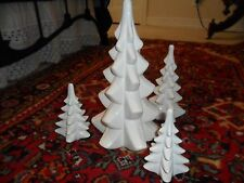 4-SCULPTED EVERGRE VTG. CERAMIC CHRISTMAS TREES USED IN LG. SNOW VILLAGE DISPLAY