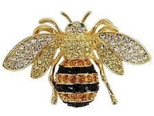 RUCINNI Honey Bee Brooch with Swarovski Crystal and 20K Gold Plated