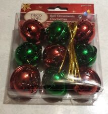 "Set of 9 JINGLE BELLS RED & GREEN 1 1/2""  ORNAMENTS WITH HANGERS LARGE SIZE"