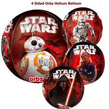 """STAR WARS BALLOON 16"""" ORBZ CLEAR SEE-THRU BIRTHDAY PARTY HELIUM FOUR IMAGES EP7"""