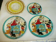3 Vintage  Mickey Mouse Metal Plates Copyright Walt Disney Productions + a plate