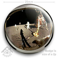 "NASA APOLLO 11 Neil Armstrong Buzz Aldrin Helmet Visor Moon - 25mm 1"" Badge"