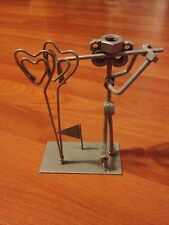 Golf Figurine at Tee Off Time, Metals, Bolts, Welded, Silver, Card Holder