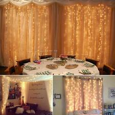 3x3m UK LED WARM WHITE LED LIGHT Curtain FAIRY stringa luci di Natale Festa Matrimonio