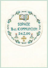 Cross stitch greeting card for a 1st Communion in blue - complete kit on 16 aida