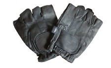 Mens Black Leather Motorcycle Biker Fingerless Driving Gloves Gel Palms 2XL