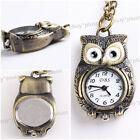 Vintage Bronze Tone Owl Quartz Pocket Chain Pendant Watch Necklace Gift New