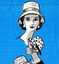 """Raro Anne Adams Vintage 60s Sombrero Patrón De Costura Tamaño 22"""" Pulgadas Retro Accesorios"""