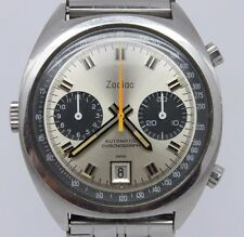 VINTAGE Zodiac Carrera Mens 38mm Steel Automatic Chronograph Watch cal.90 Heuer