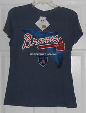 Majestic Braves Grapefruit League Map Blue Womens  2014 T Shirt Size Large NWT