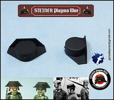 2 X TRICORNIO GUARDIA CIVIL PLASTICO RIGIDO COMPATIBLE PLAYMOBIL LACADOS NEGROS
