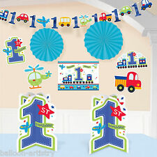 10 Piece All Aboard Blue Boy's 1st Birthday Party Room Decorating Kit
