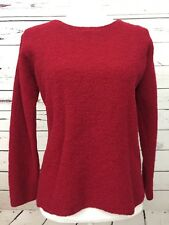 EILEEN FISHER red Crew neck Textured Sweater Wool Blend Size Petite Large