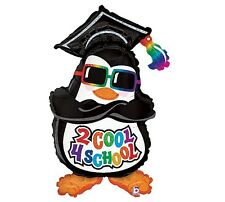 "40"" ""2 COOL 4 SCHOOL"" Cool Party Penguin Sunglasses Mylar Balloon"