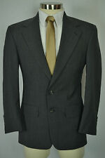 (38S) Bill Blass Men's Gray Houndstooth Check Wool Pleated Front 2 Piece Suit