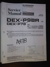 Pioneer dex-p98r p78 service manual Original Repair car cd player compact disc