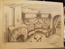 FRANK G HUBBARD-1946-INK & PAPER CARTOON PROJECT-LIVING ROOM W/FIREPLACE/CORNER