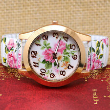 Fashion Flower Print Elastic Band Quartz Wrist Watch For Charm Women Lady Gifts