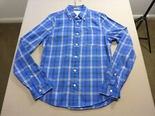 037 MENS NWOT ABERCROMBIE & FITCH BLUE / WHITE CHECK L/S SHIRT MEDM $130 RRP.