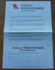 Embassy World Snooker 1988 Programme Offer Letter Extremely Rare 80s 1980s Retro