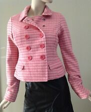 Abercrombie & Fitch Light Pink Wool Blend Houndstooth Plaid Jacket Size L