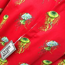 1996 vintage GIANNI VERSACE red cotton shirt Jellyfish print size ITA 52