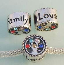 ♥ Spacer Bead European Lebensbaum Strass family love Tibetsilber silber  ♥PBS063