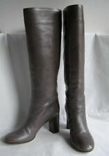 Chloe Gray Smooth Leather Pull-On Knee High Boots Chunky High Heel 38.5