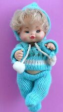 VINTAGE FURGA MINI BABY DOLL BLOND BLUE EYES JOINTED KNIT SWEATER OUTFIT CUTE