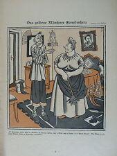 vintage SIMPLICISSIMUS cartoon 1924 DAS GOLDENE MUENCHNER FREMDENHERZ schilling