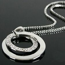 Bling Swarovski Crystal Rhinestone Circles Pendants Long Chain Sweater Necklace
