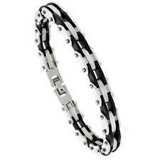 8 in. Stainless Steel Bracelet  w/ Black Rubber Accent