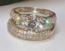 3.0CT ROUND CUT THREE STONE ENGAGEMENT RING WEDDING BAND SOLID 14KT WHITE GOLD