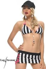 SEXY REFEREE FANCY DRESS OUTFIT MICRO MINI SKIRT TOP CAP STOCKINGS BLACK& WHITE