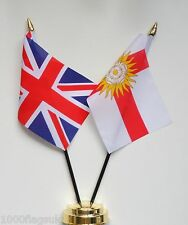 United Kingdom & West Riding of Yorkshire County Double Friendship Table Flags