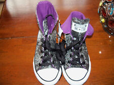 Converse All Star Black/Silver Convertible Shoes Size 12 Girl's NEW LAST ONE HTF