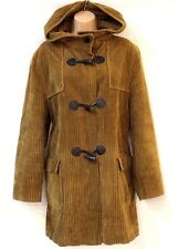 Vintage Brown Corduroy GILL BRET Hooded Ladies Women's Duffle Coat Size UK 16