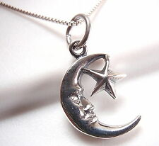 Crescent Moon and Star Pendant 925 Sterling Silver Corona Sun Jewelry night