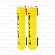 2 piece 5/4 AAA 3A 900mAh NiMh Rechargeable Battery Flat Top with Tab Yellow