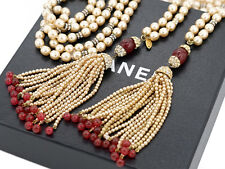 "CHANEL Red Gripoix Pearl Lariat Necklace 47"" Fringe Tassel 1983 w/BOX  #1149"