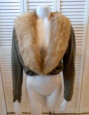 VINTAGE HADLEY GRAY CASHMERE CROPPED SWEATER JACKET, FOX FUR COLLAR, M/L, NICE!